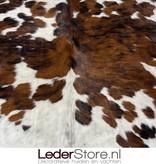Koeienhuid tricolor zwart wit bruin normandier 220x210cm M/L