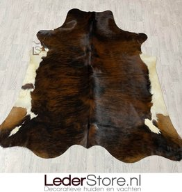 Cowhide rug tricolor black white brown Normandier 245x225 XL