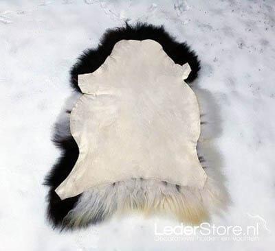 Schapenvacht wol in sneeuw leerkant boven