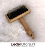 Sheepskin wool comb bamboo 15x10,5cm