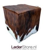 Koeienhuid poef zwart wit bruin 40x40x40cm
