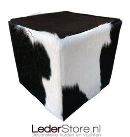 Koeienhuid poef zwart wit 40x40x40cm