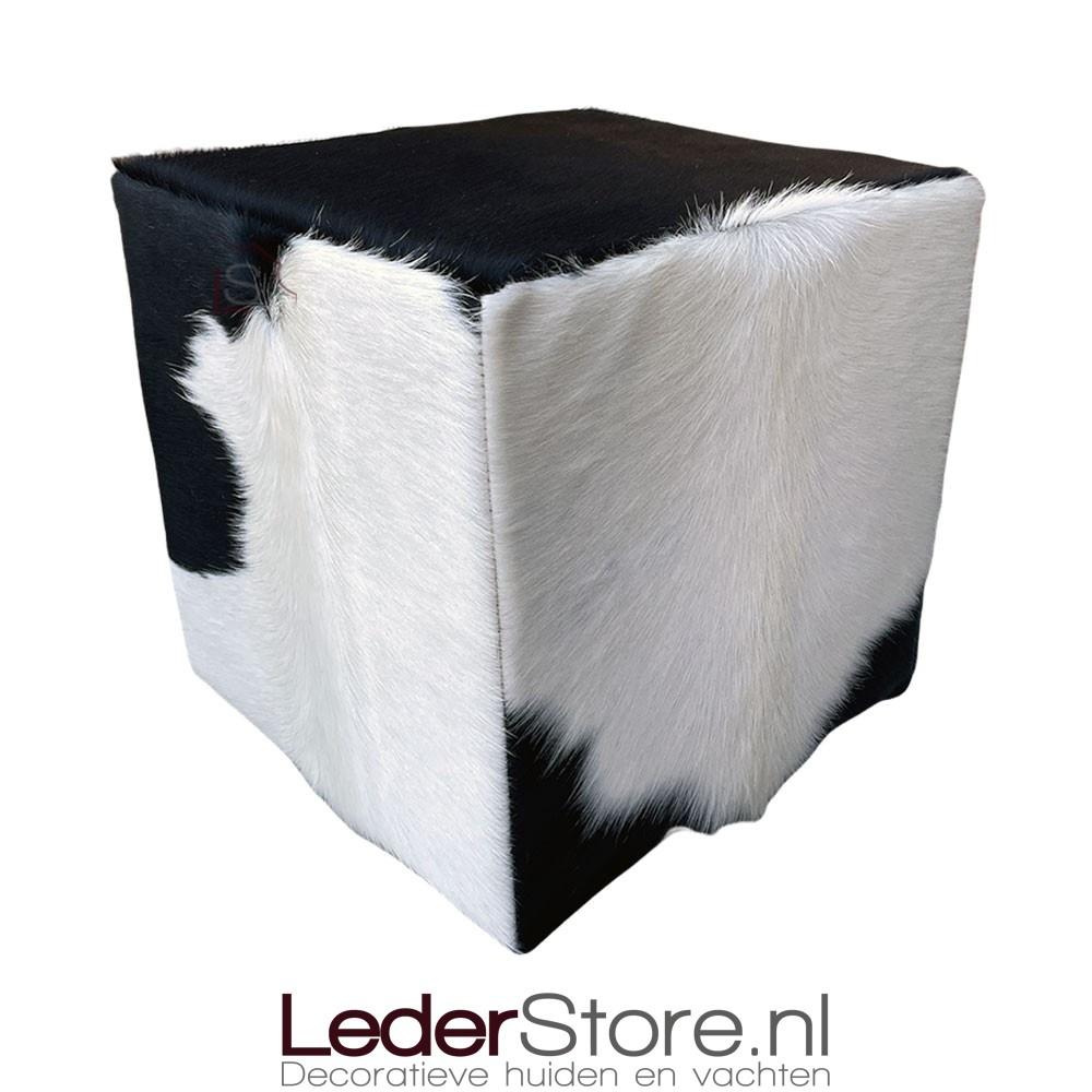 Cowhide pouf black white 40x40x40cm