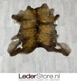 Calfhide rug brown white 95x100cm