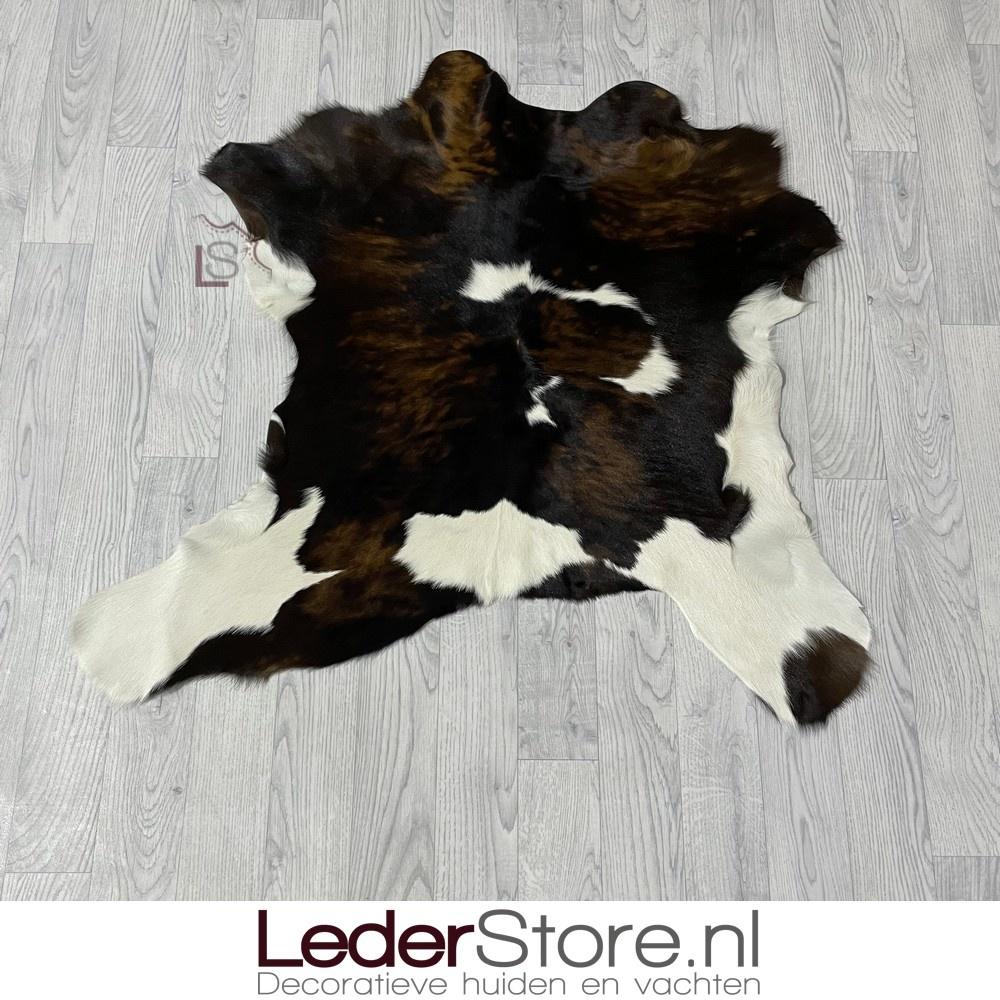 Calfhide rug brown black white 100x100cm