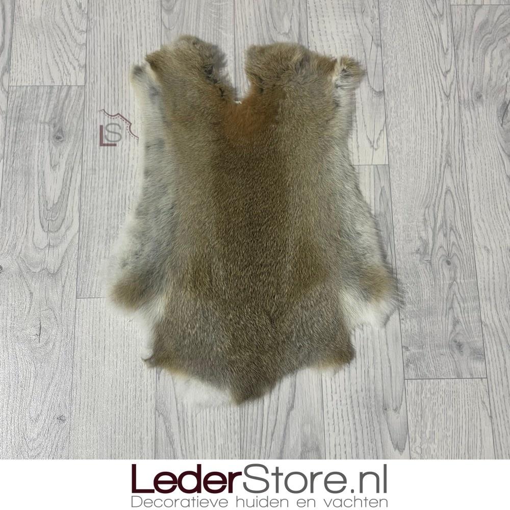 Konijnenvacht bruin grijs wit 45x35cm