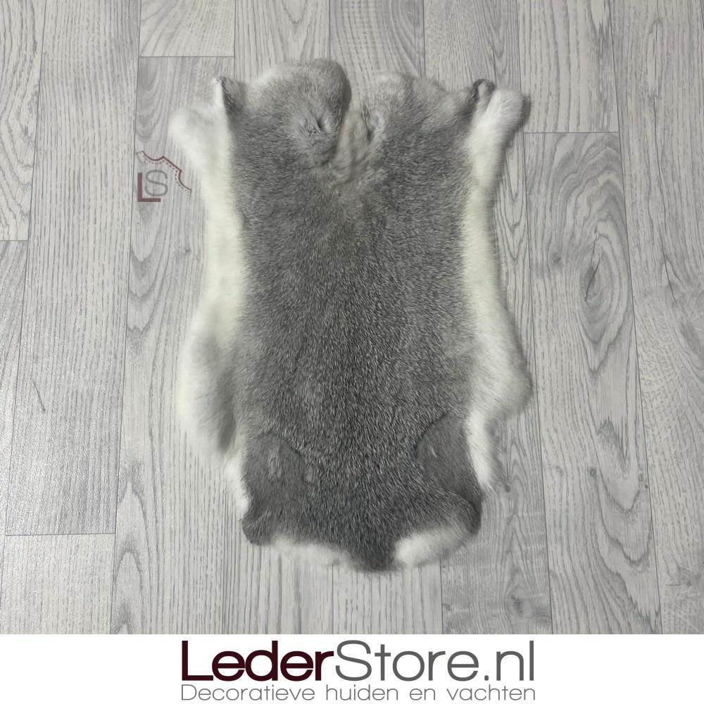 Konijnenvacht grijs wit 50x35cm