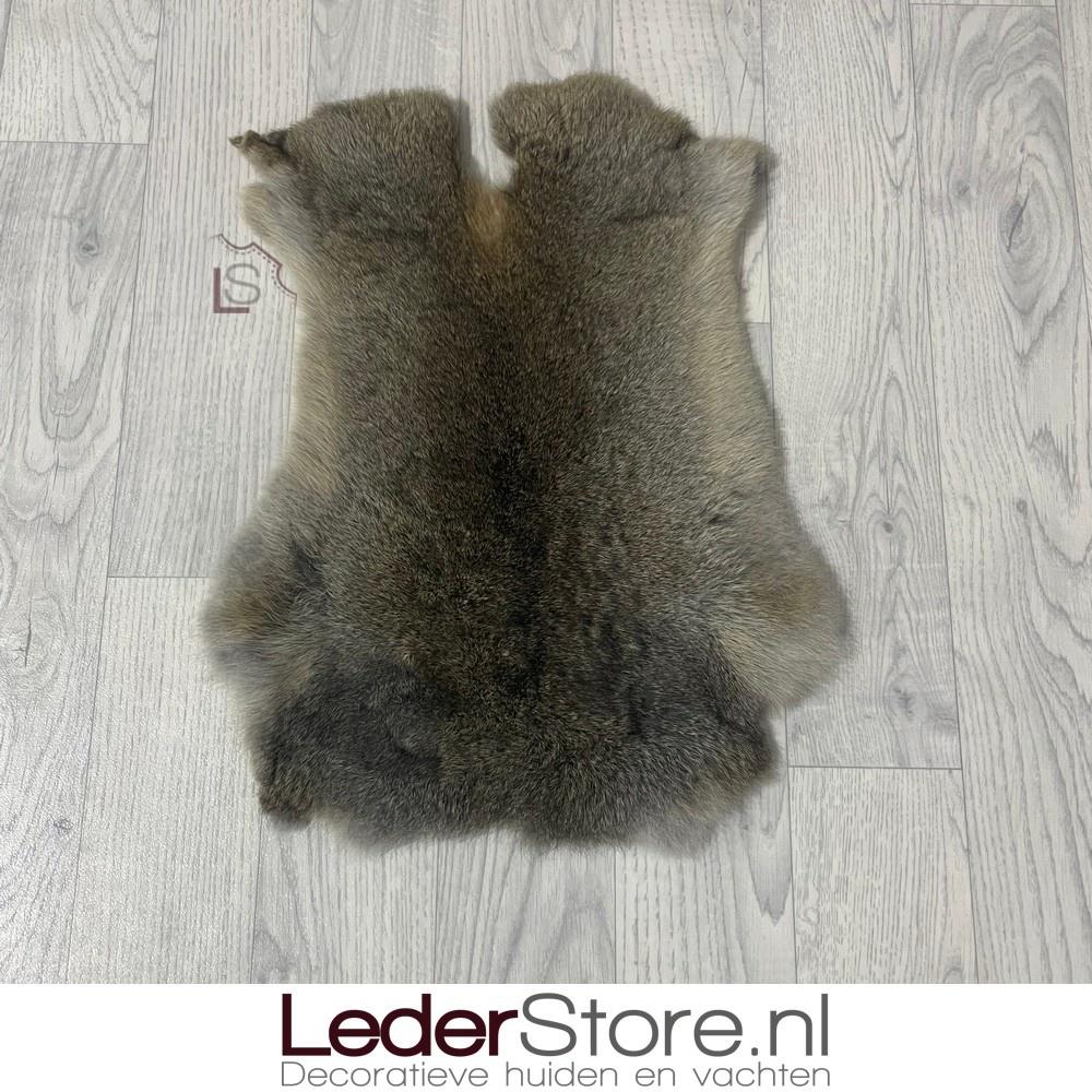 Rabbit skin brown grey 45x35cm