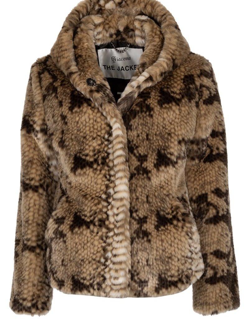 Giacomo Fake Fur Snake Jacket short