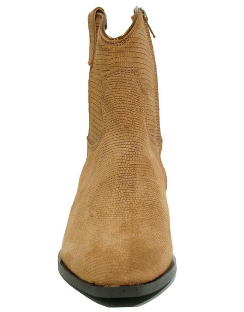 Tango Nina oblique 10-d cognac suede iguana western boot