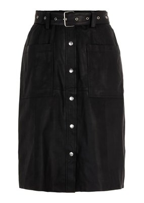 Y.A.S YASANDREA HW Nappalon Skirt Leather Black