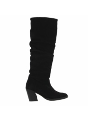 Tango Ella oblique 14-b high black suede wrinkle boot