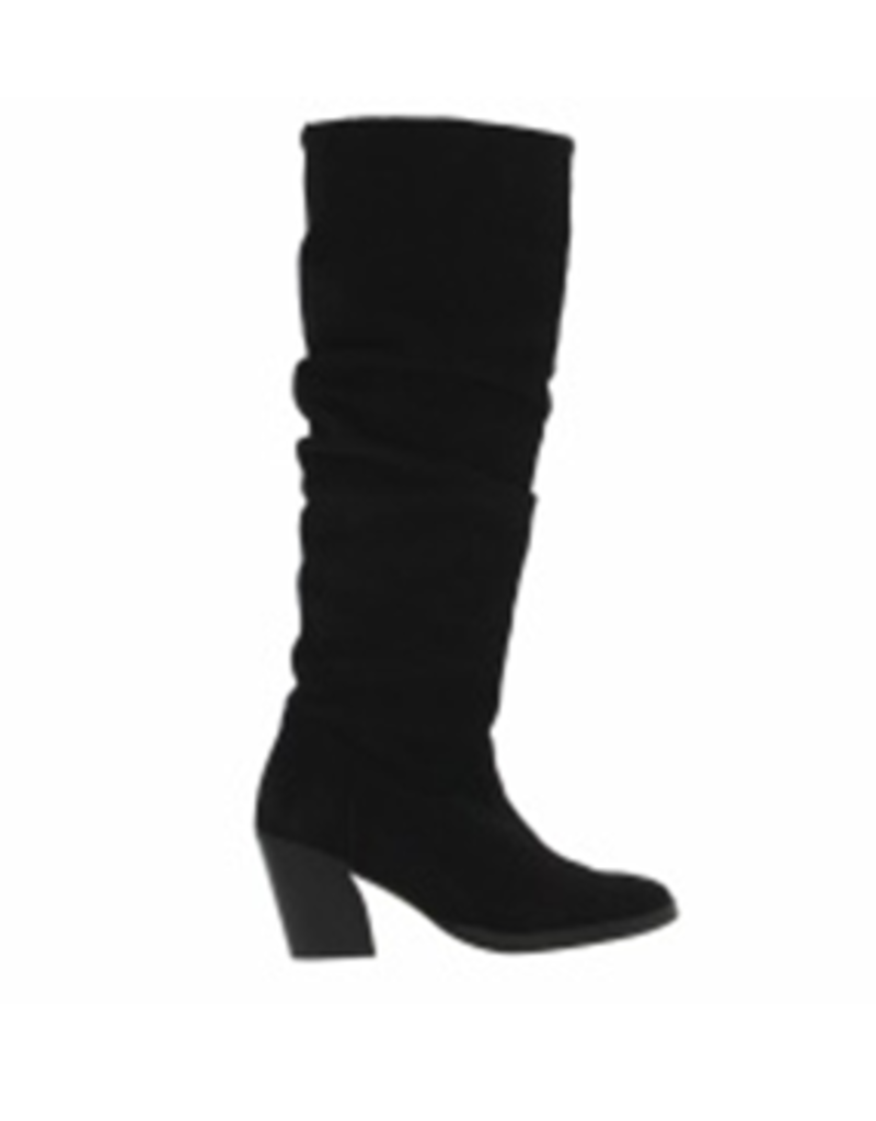 Tango Ella oblique 14-b high black suede wrinkle boot