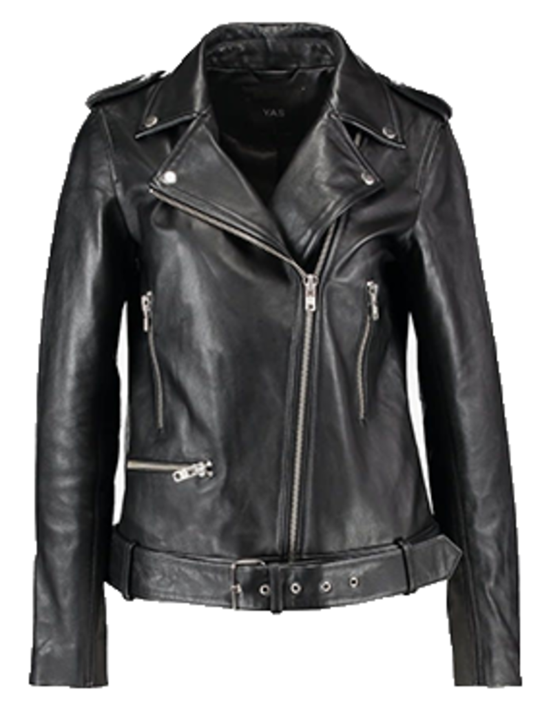 Y.A.S YASXenia leather jacket Black