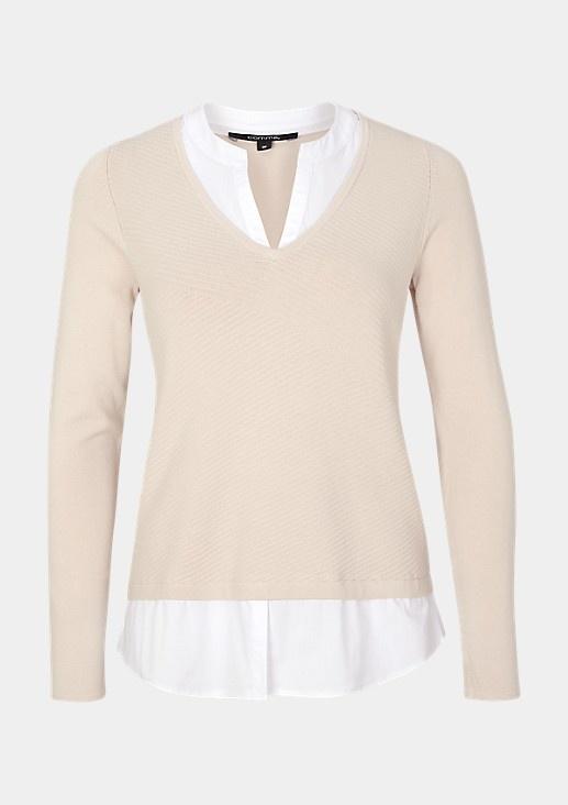 Trui met blouse detail 81.912.61.1001 ENVOGUE