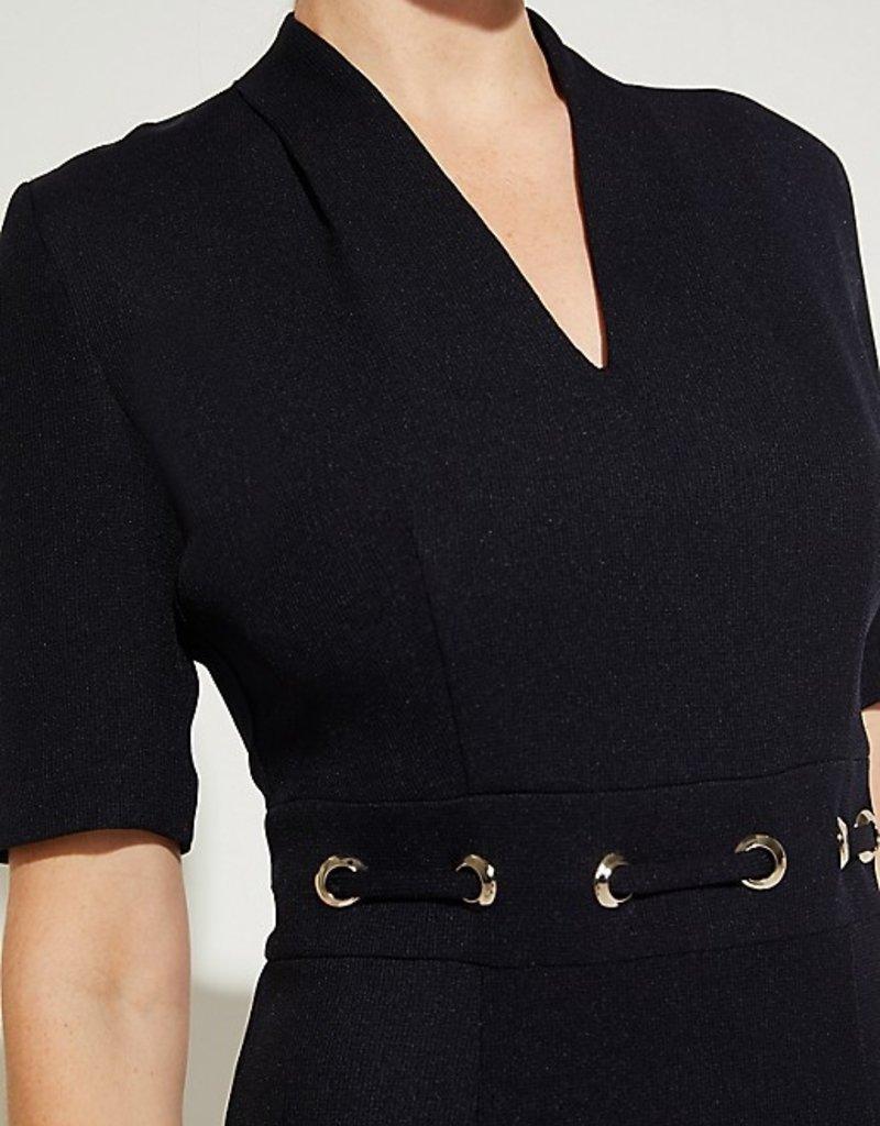 Comma Dress 81.003.82.6441 v-neck zilver ring taille navy