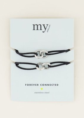My Jewellery Zwarte forever connectedarmband Zilver ONESIZE