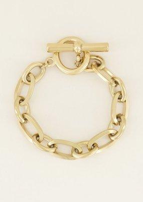 My Jewellery Schakelarmband kapittelslot Goud ONESIZE