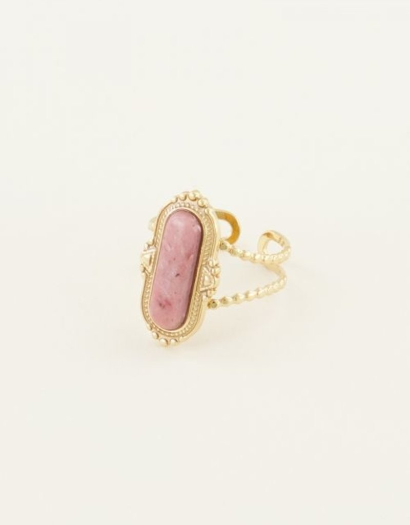 My Jewellery Ring roze steen Goud ONESIZE