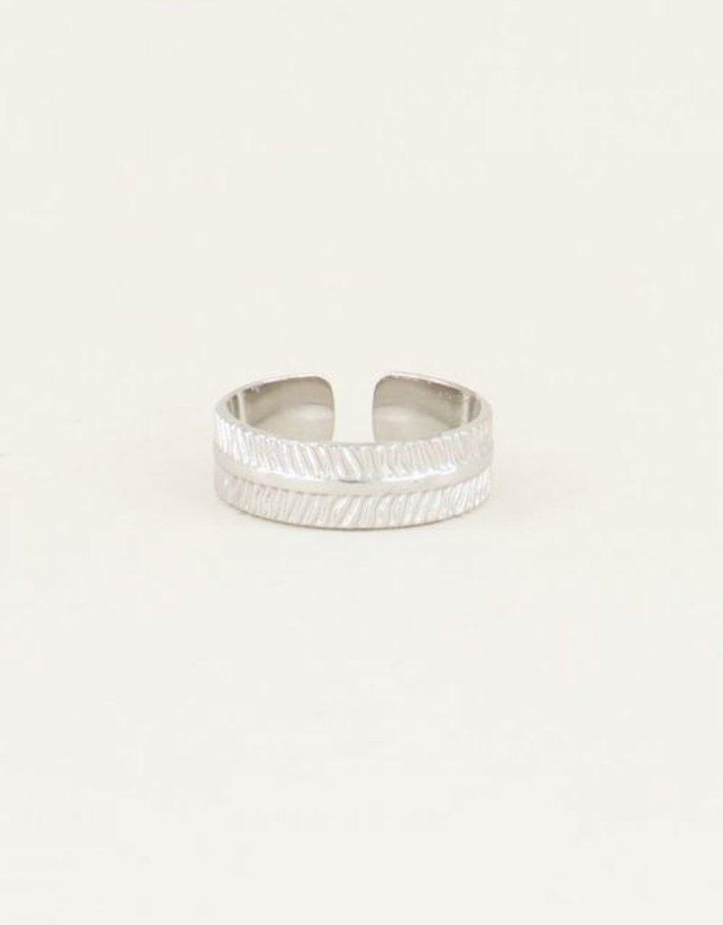 My Jewellery Ring met streepjes Zilver ONESIZE