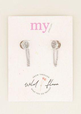 My Jewellery Oorhangers bloem & kettinkje Zilver ONESIZE