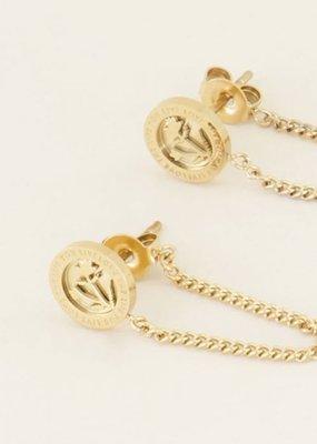 My Jewellery Oorhangers bloem & kettinkje Goud ONESIZE