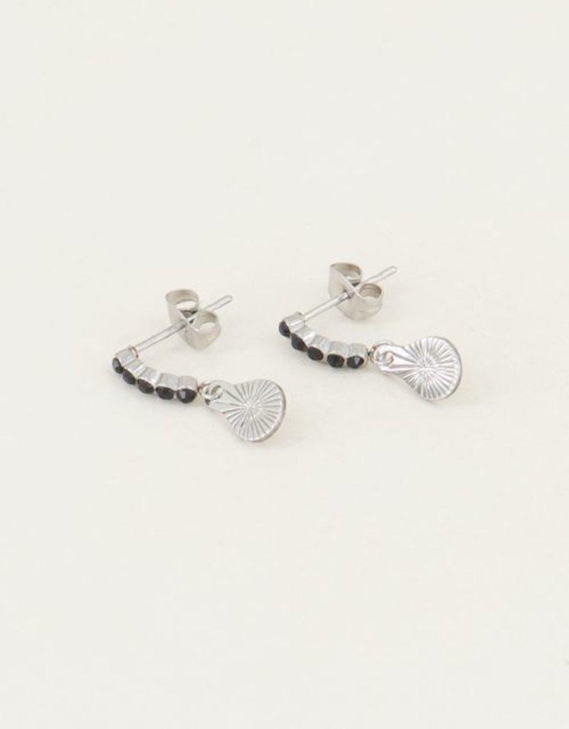 My Jewellery Oorhangers bedel & zwarte strass steentjes Zilver ONESIZE