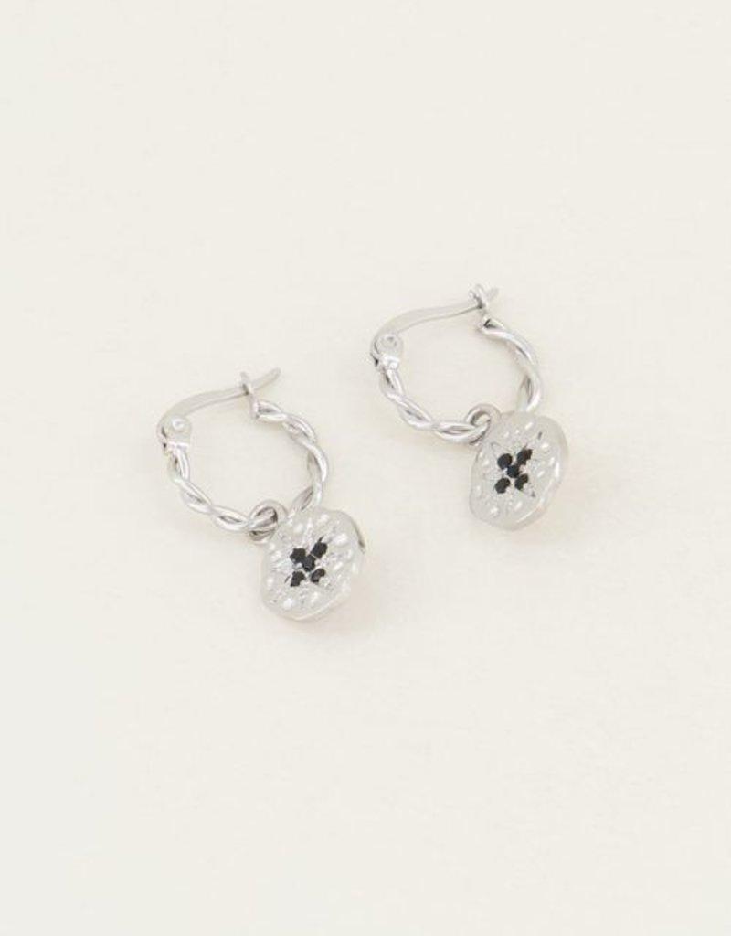My Jewellery Gedraaide oorring munt zwartestrass steentjes Zilver ONESIZE