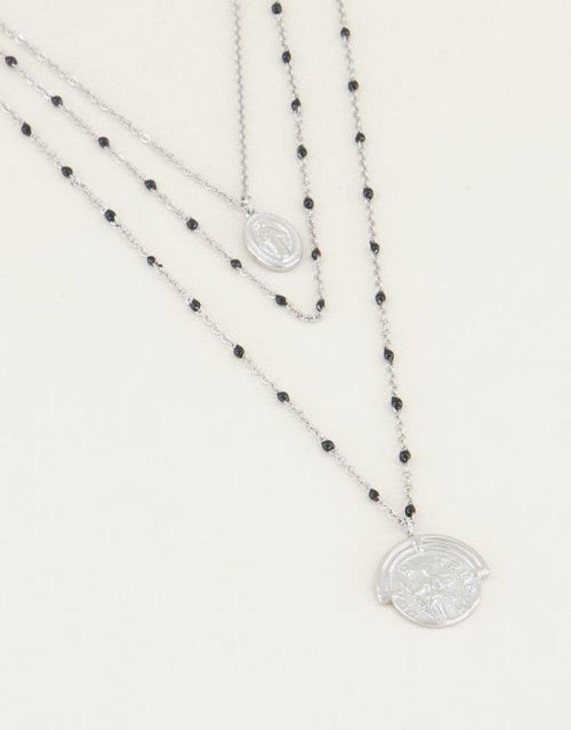 My Jewellery Driedubbele ketting muntjes enen kraaltjes Zilver ONESIZE
