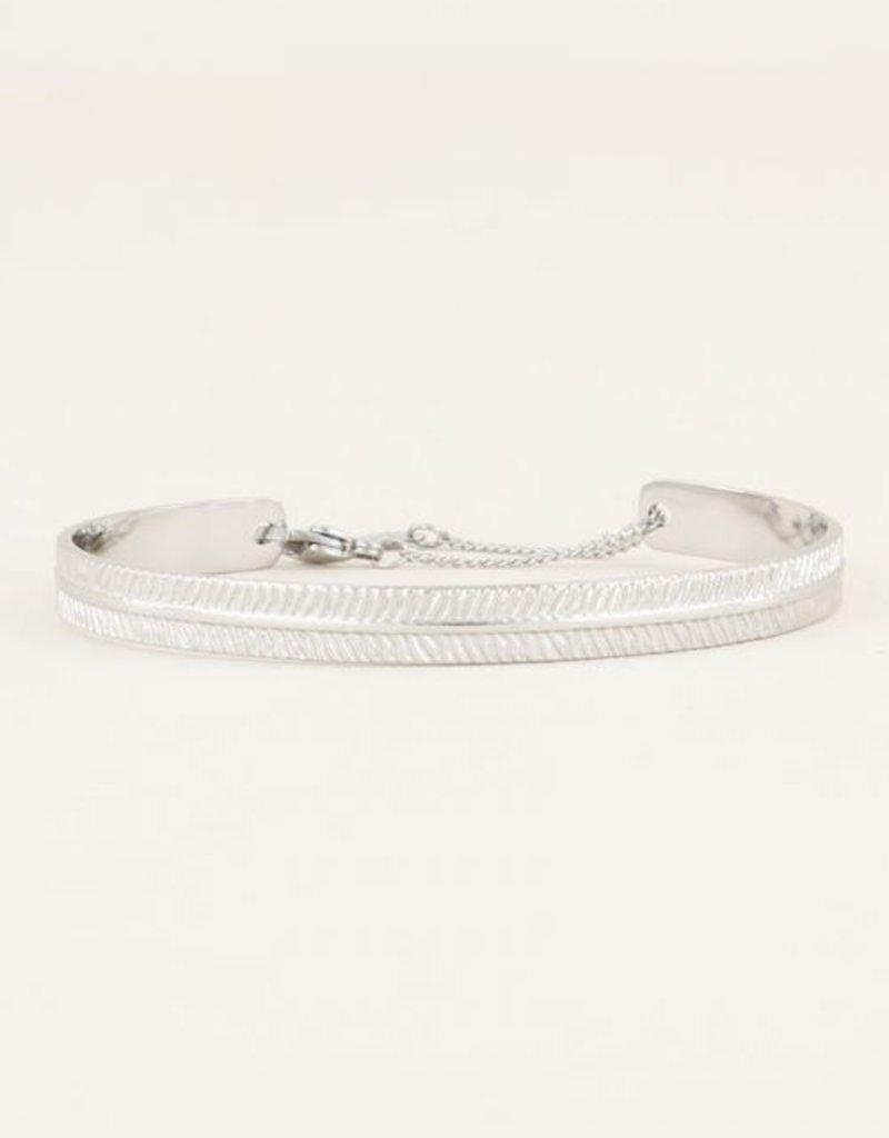 My Jewellery Bangle met streepjes Zilver ONESIZE