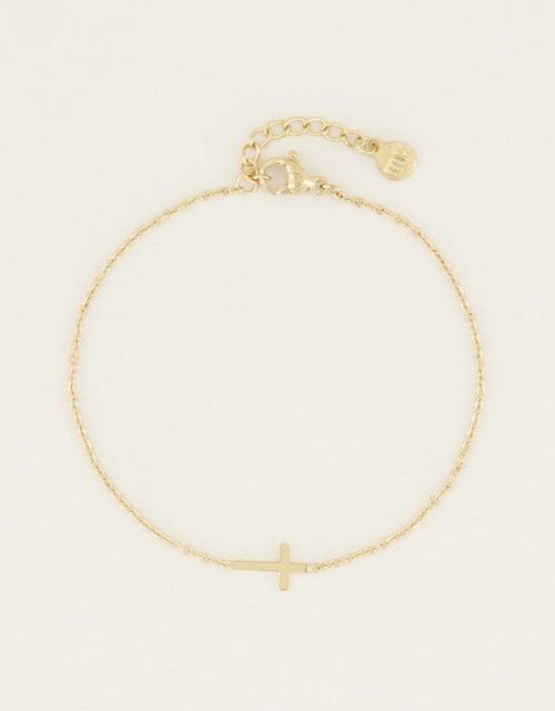 My Jewellery Armband klein kruisje Goud ONESIZE