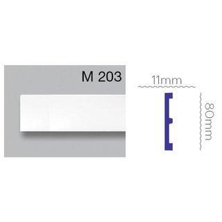 Platte plint M203 (80 x 11 mm) polyurethaan, lengte 2 m