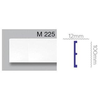 Platte plint M225 (100 x 12 mm) polyurethaan, lengte 2 m