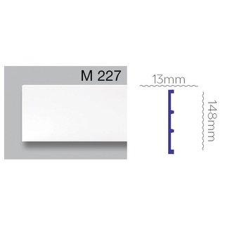 Platte plint M227 (148 x 13 mm) polyurethaan, lengte 2 m