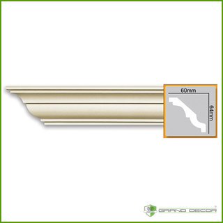 Kroonlijst P809 (64 x 60 mm), polyurethaan,  lengte 2 m