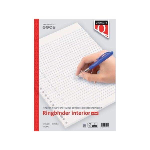Quantore Quantore ringband papier A4, 23-rings, gelinieerd, FSC pak 100 vel