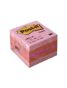 Post-it Memoblok kubus roze 51x51mm.