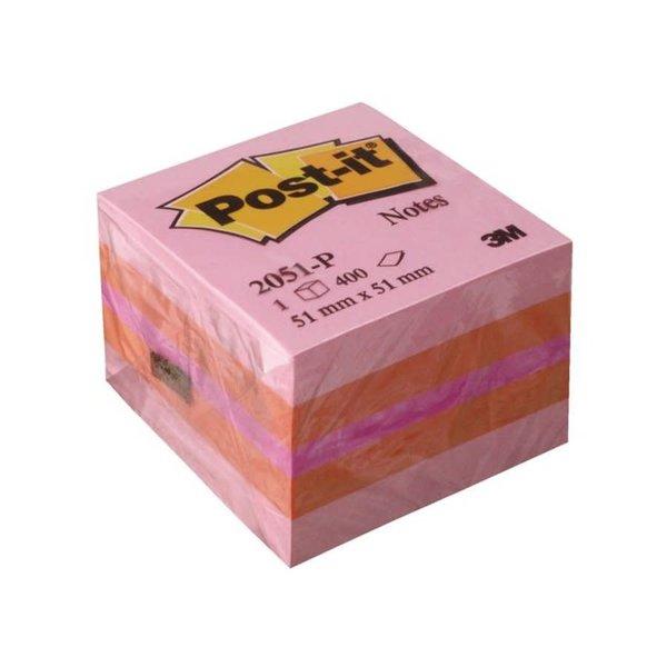 Post-it Memoblok kubus roze 51x51mm. Pak 400 vel