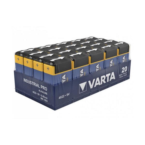 Varta Batterij Alkaline Blok E, 6LP31 9V. Pak 20 stuks