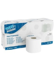 Clean and Clever Toiletpapier, wit gerecycled, 2 lgs. 250 vel pak 8x 8 rollen