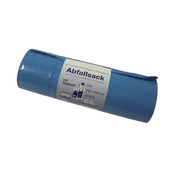 Clean and Clever Afvalzakken Blauw LDPE met trekband 70 x 100 x 5 cm. Rol à 25 zakken