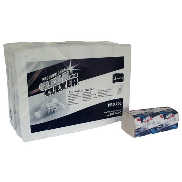 Clean and Clever Z-handdoek briljant wit gerecycled 2 lgs. 24 x 23 cm. pak 20x 200 doek