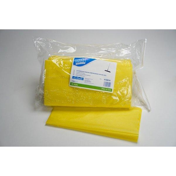 Clean and Clever Stofwisdoek geel geïmpregneerd 60 x 60 cm. viscose pak 50 stuks