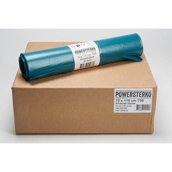Powersterko Afvalzakken T50 LDPE 70x110cm Blauw 120L Doos á 10 rollen