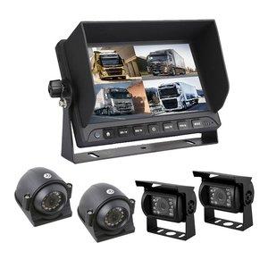 Professioneel 7 inch HD Quad View Achteruitrijcamera-systeem met 4  camera 's + DVR