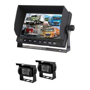 Professioneel 7 inch HD Quad View Achteruitrijcamera-systeem met 2 verwarmde camera 's + DVR
