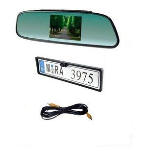 ARC Set met camera in kentekenplaathouder en monitor in achteruitkijkspiegel