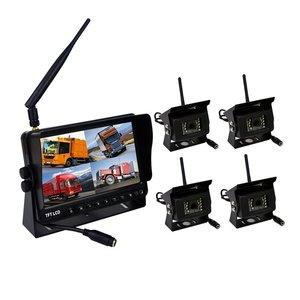 Digitaal draadloos 7 inch achteruitrijcamera systeem met 4 camera 's