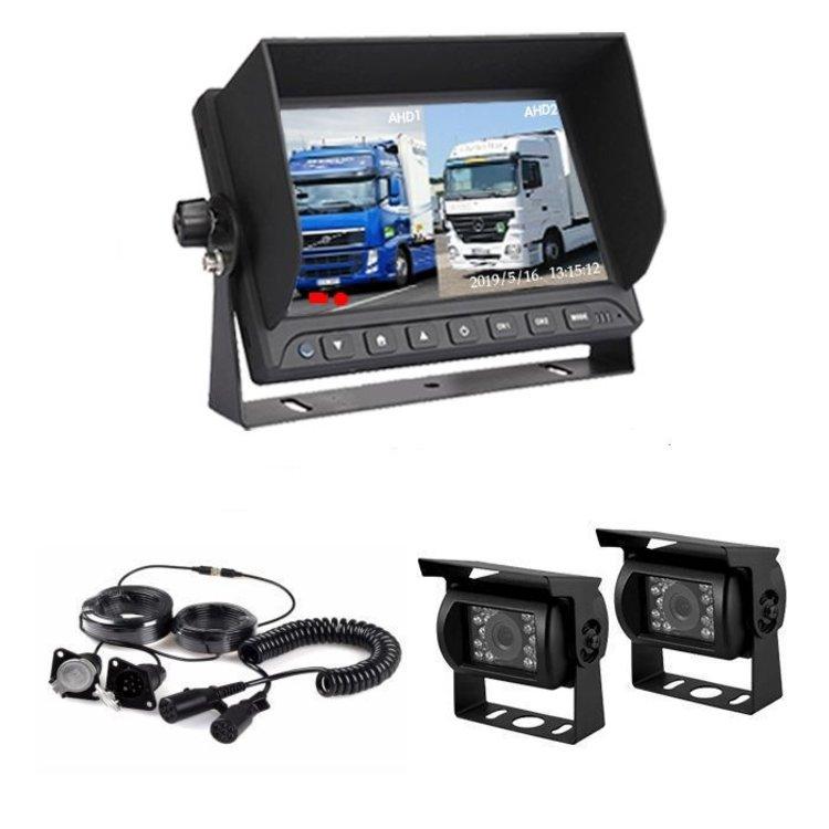 ARC Professioneel 7 inch Splitscreen HD systeem met 2 Verwarmde Achteruitrijcamera 's en Truck en Trailerset