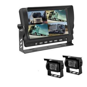 ARC Professioneel 9 inch HD Quad View Achteruitrijcamera-systeem met 2 verwarmde camera 's + DVR